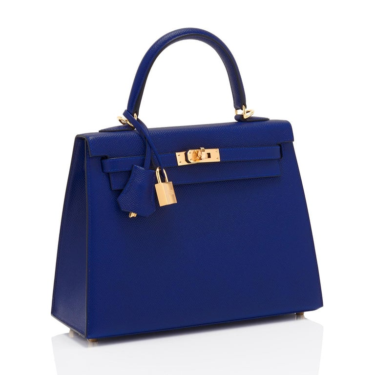Hermes Kelly 25cm Blue Sapphire Navy Epsom Sellier Bag Gold Y Stamp, 2020 In New Condition For Sale In New York, NY