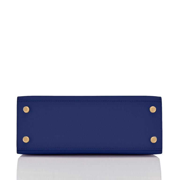 Hermes Kelly 25cm Blue Sapphire Navy Epsom Sellier Bag Gold Y Stamp, 2020 For Sale 1