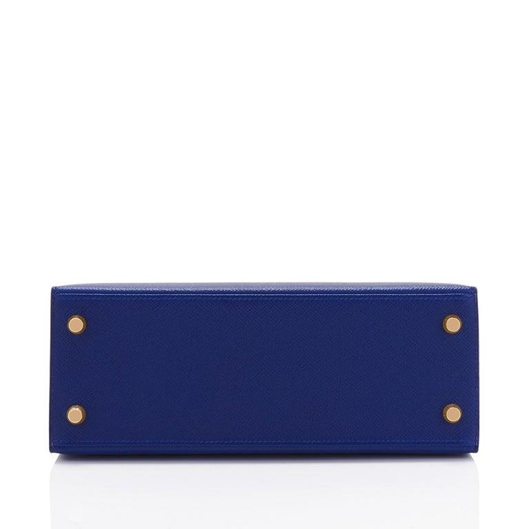 Hermes Kelly 25cm Blue Sapphire Navy Epsom Sellier Bag Gold Y Stamp, 2020 For Sale 1