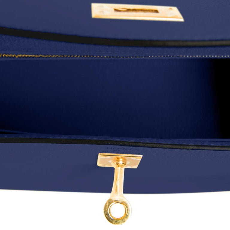 Hermes Kelly 25cm Blue Sapphire Navy Epsom Sellier Bag Gold Y Stamp, 2020 For Sale 2