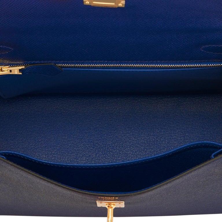 Hermes Kelly 25cm Blue Sapphire Navy Epsom Sellier Bag Gold Y Stamp, 2020 For Sale 2