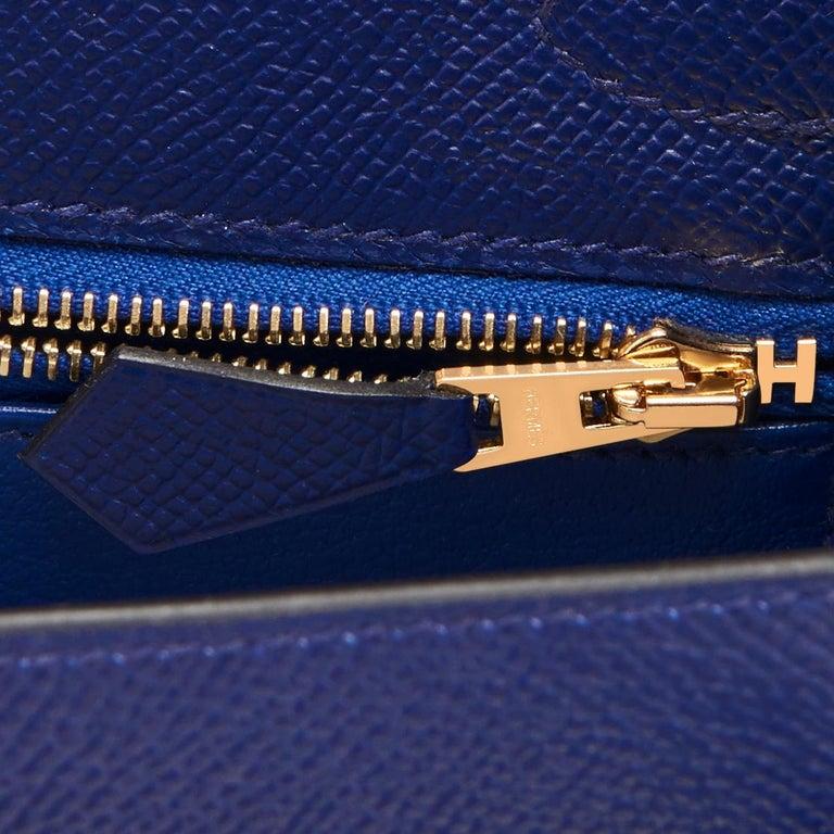 Hermes Kelly 25cm Blue Sapphire Navy Epsom Sellier Bag Gold Y Stamp, 2020 For Sale 3