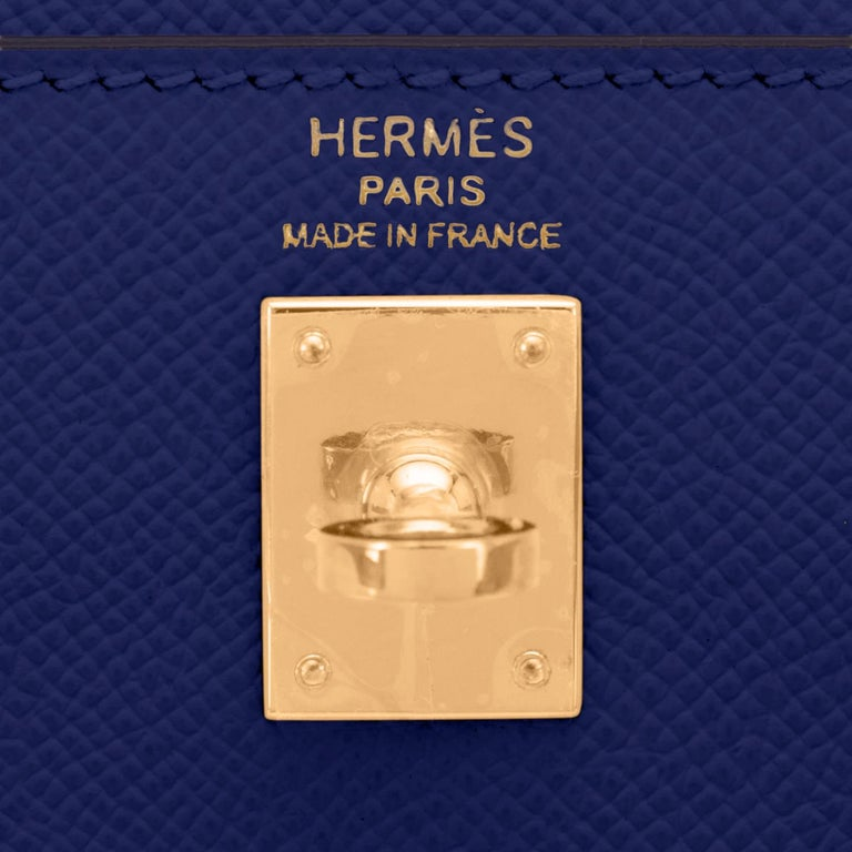 Hermes Kelly 25cm Blue Sapphire Navy Epsom Sellier Bag Gold Y Stamp, 2020 For Sale 4