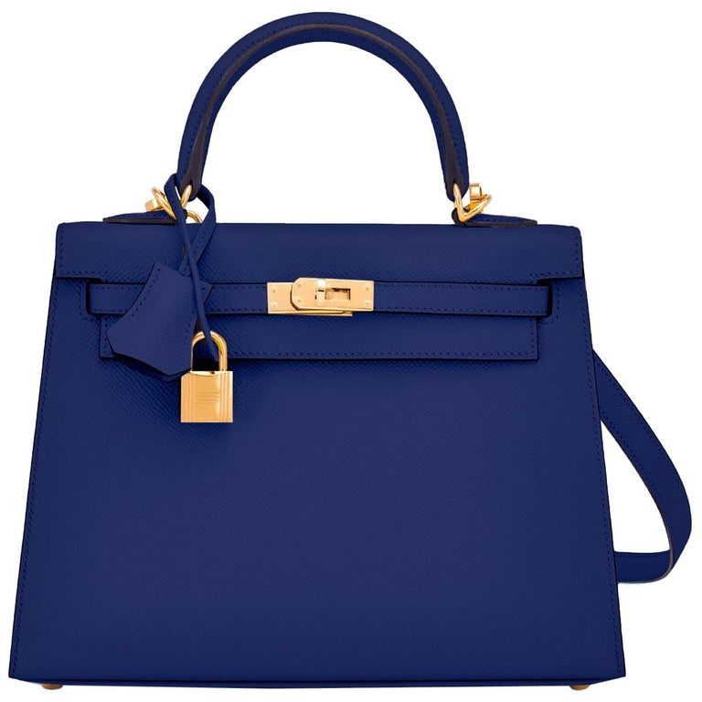 Hermes Kelly 25cm Blue Sapphire Navy Epsom Sellier Bag Gold Y Stamp, 2020 For Sale
