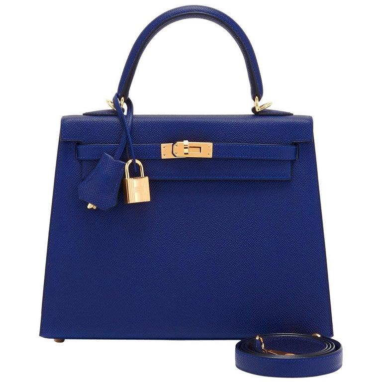 Hermes Kelly 25cm Blue Sapphire Navy Epsom Sellier Bag Gold Y Stamp, 2020 For Sale