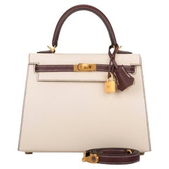 Hermes Kelly 25cm Bordeaux Craie HSS Brushed Gold Bag