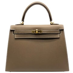 Hermès Kelly 25cm Etoupe Epsom Leather Gold Hardware