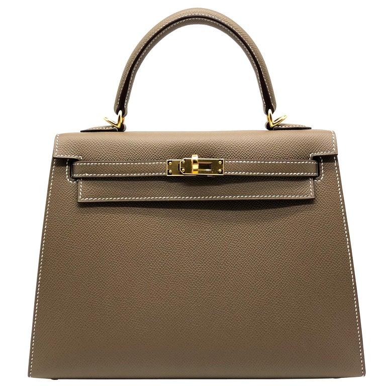 Hermès Kelly 25cm Etoupe Epsom Leather Gold Hardware For Sale