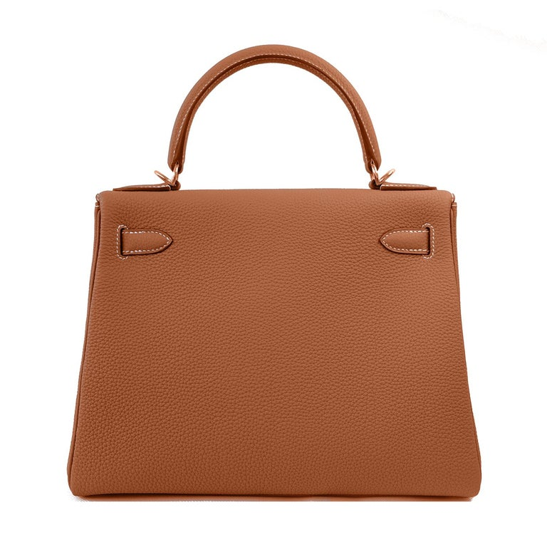 Hermes Gold Camel Tan 25cm Mini Kelly Bag Togo Retourne Gold Togo Y Stamp, 2020 Brand New in Box. Store Fresh. Pristine Condition (with plastic on hardware) Just purchased from Hermes store; bag bears new 2020 interior Y Stamp. Comes full set with