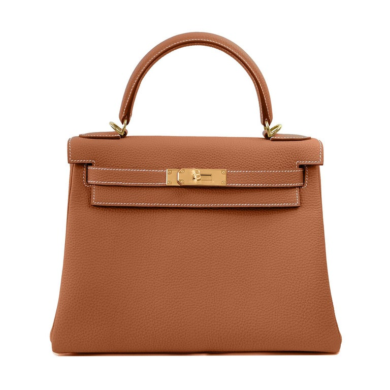 Hermes Kelly 25cm Gold Camel Camel Tan Shoulder Bag Togo Retourne Y Stamp, 2020 For Sale 2