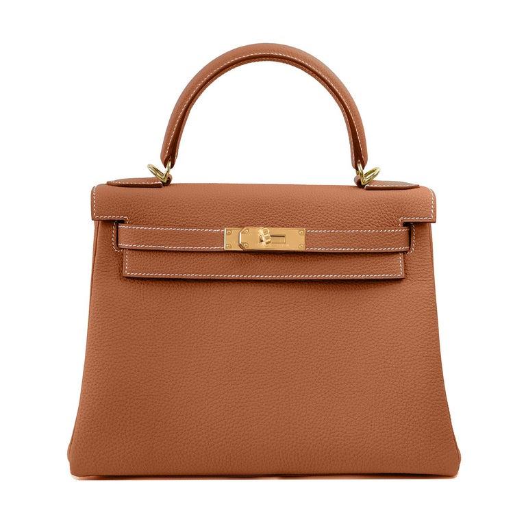 Hermes Kelly 25cm Gold Camel Tan Shoulder Bag Togo Retourne Y Stamp, 2020 For Sale 2