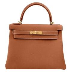 Hermes Kelly 25cm Gold Camel Tan Shoulder Bag Togo Retourne Y Stamp, 2020