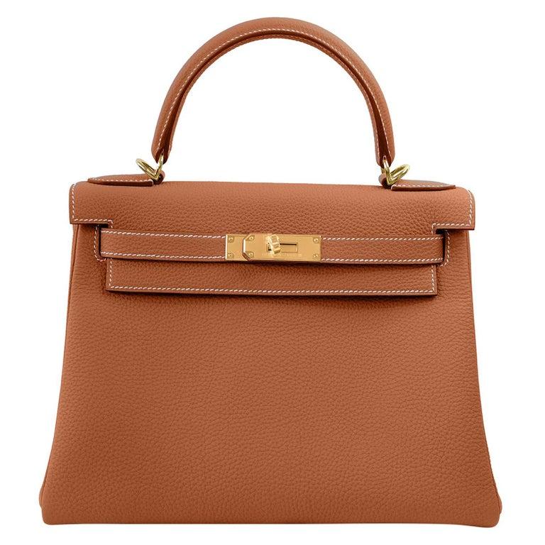 Hermes Kelly 25cm Gold Camel Tan Shoulder Bag Togo Retourne Y Stamp, 2020 For Sale