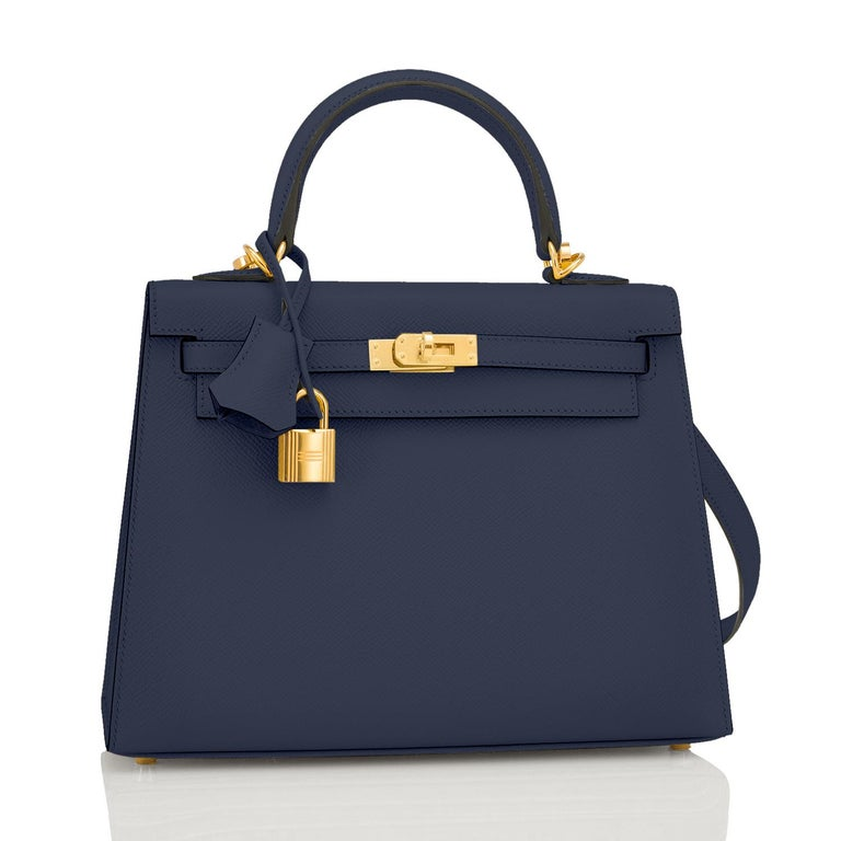 Hermes Kelly 25cm Indigo Deep Blue Epsom Sellier Bag Gold Y Stamp, 2020 Just purchased from Hermes store; bag bears new interior 2020 Stamp. Brand New in Box. Store Fresh. Pristine Condition (with plastic on hardware). Perfect gift! Comes full set