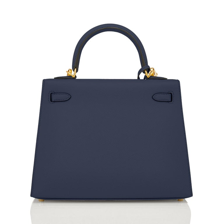 Black Hermes Kelly 25cm Indigo Deep Blue Epsom Sellier Bag Gold Y Stamp, 2020