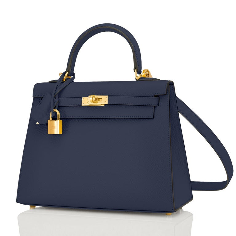 Hermes Kelly 25cm Indigo Deep Blue Epsom Sellier Bag Gold Y Stamp, 2020 In New Condition In New York, NY