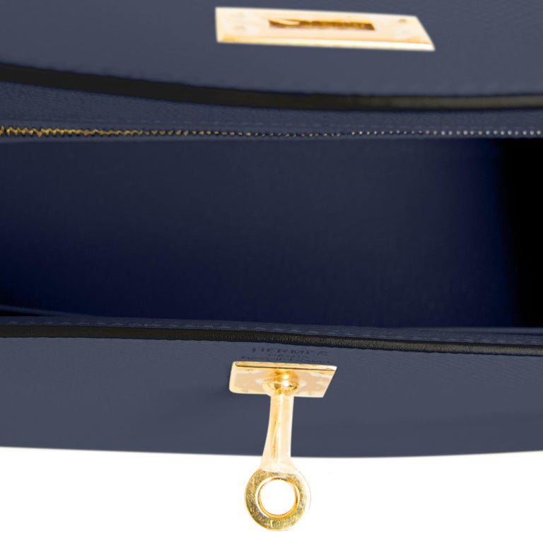 Hermes Kelly 25cm Indigo Deep Blue Epsom Sellier Bag Gold Y Stamp, 2020 2