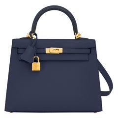 Hermes Kelly 25cm Indigo Deep Blue Epsom Sellier Bag Gold Y Stamp, 2020