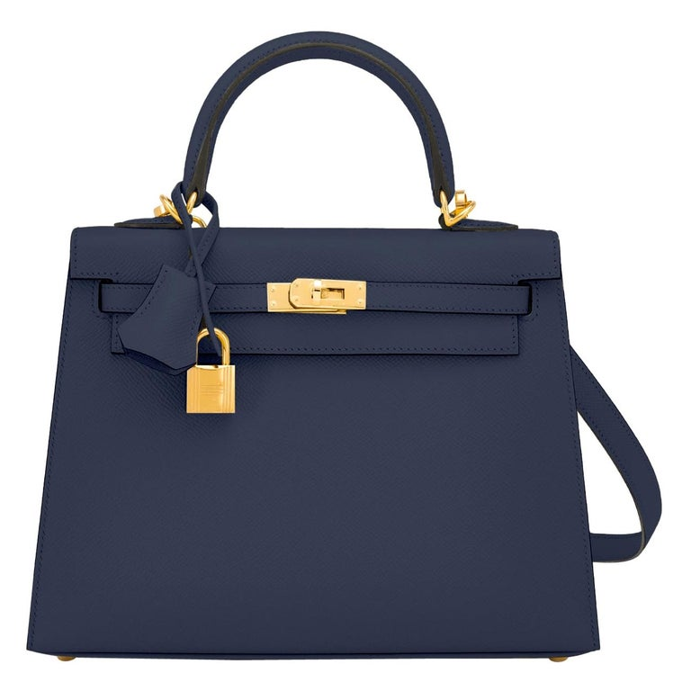 Hermes Kelly 25cm Indigo Deep Blue Epsom Sellier Bag Gold Y Stamp, 2020