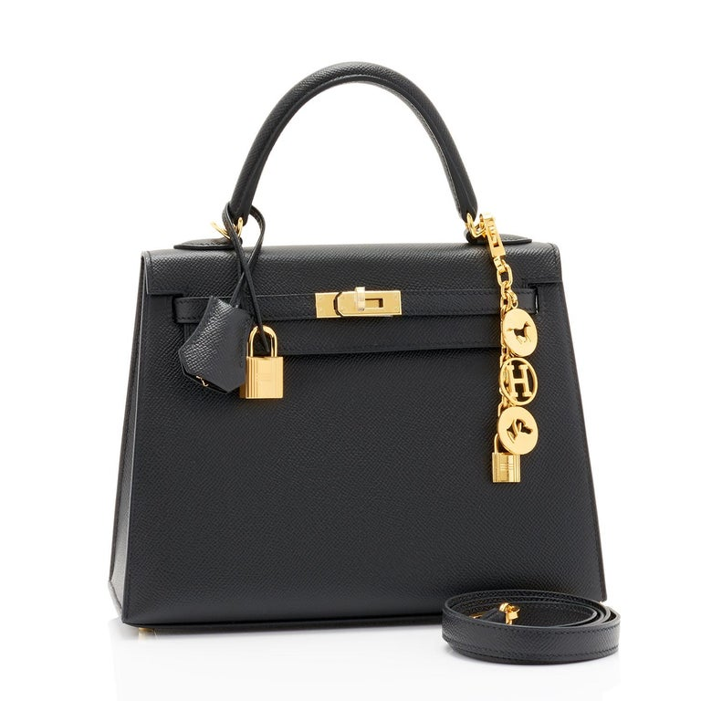 Hermes Kelly 25cm Jet Black Epsom Sellier Gold Jewel D Stamp, 2019  Just purchased from Hermes store!  Bag bears new 2019 interior D Stamp. Brand New in Box. Store Fresh. Pristine Condition (with plastic on hardware). Perfect gift! Comes full set