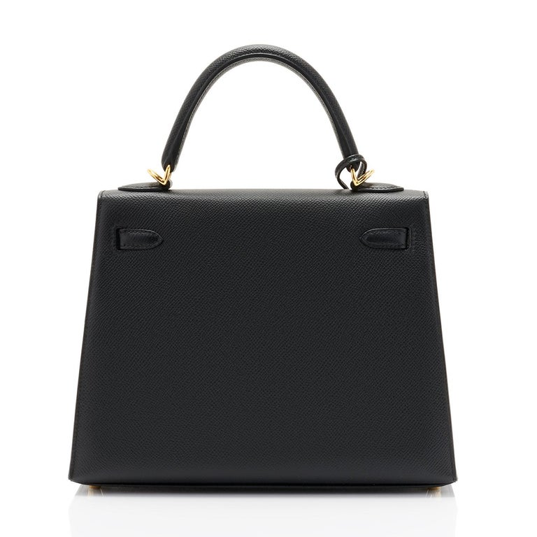 Hermes Kelly 25cm Jet Black Epsom Sellier Bag Gold Jewel D Stamp, 2019 In New Condition For Sale In New York, NY
