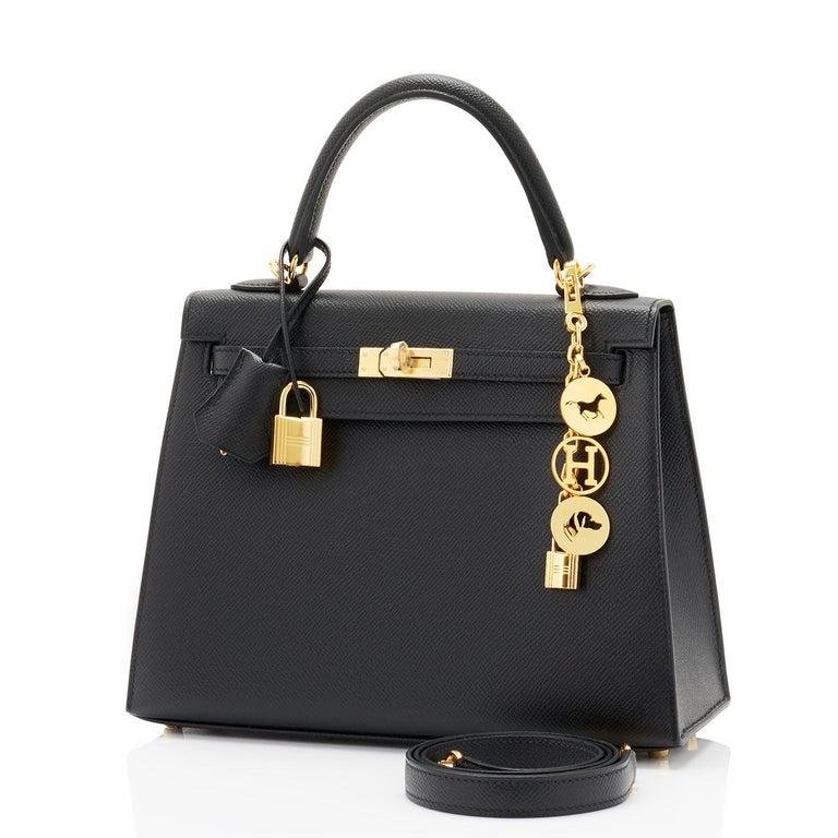 Women's Hermes Kelly 25cm Jet Black Epsom Sellier Bag Gold Jewel D Stamp, 2019 For Sale