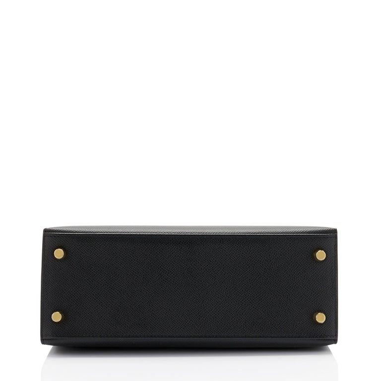 Hermes Kelly 25cm Jet Black Epsom Sellier Bag Gold Jewel D Stamp, 2019 For Sale 1