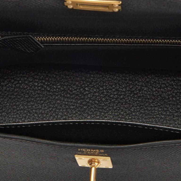 Hermes Kelly 25cm Jet Black Epsom Sellier Bag Gold Jewel D Stamp, 2019 For Sale 3