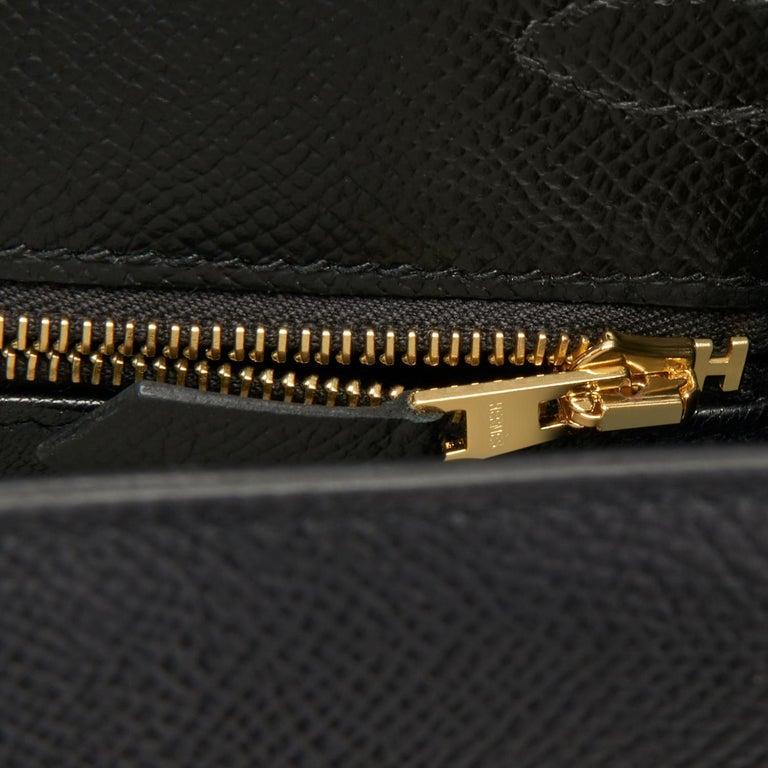 Hermes Kelly 25cm Jet Black Epsom Sellier Bag Gold Jewel D Stamp, 2019 For Sale 4