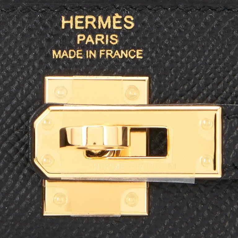 Hermes Kelly 25cm Jet Black Epsom Sellier Bag Gold Jewel D Stamp, 2019 For Sale 5