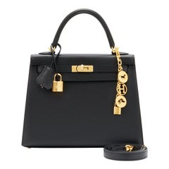 Hermes Kelly 25cm Jet Black Epsom Sellier Bag Gold Jewel