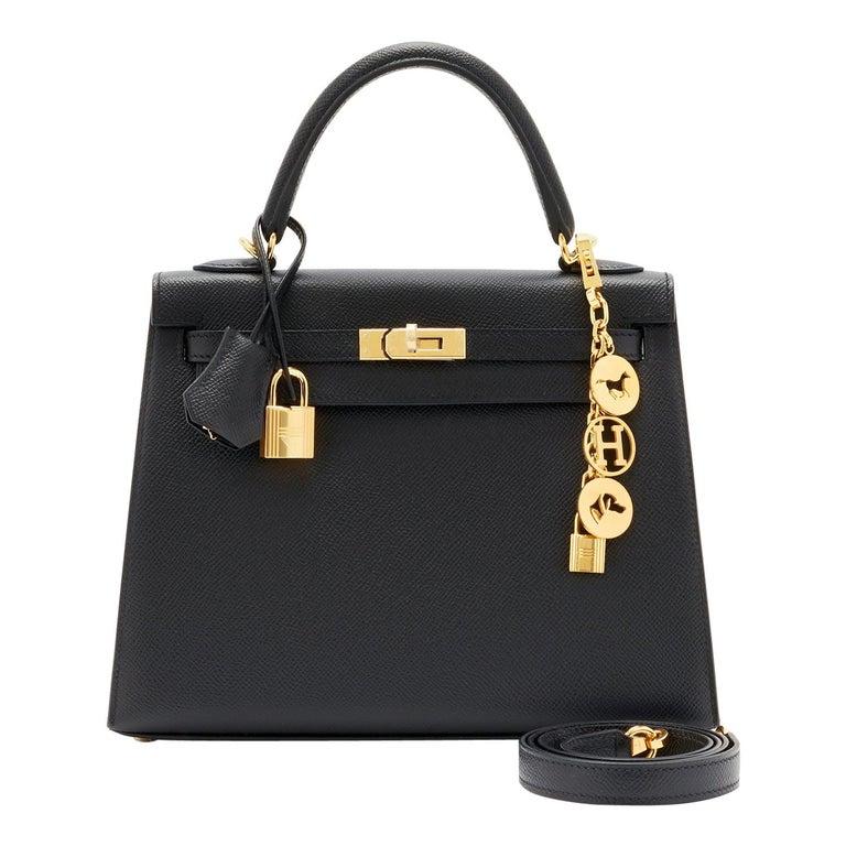 Hermes Kelly 25cm Jet Black Epsom Sellier Bag Gold Jewel D Stamp, 2019 For Sale