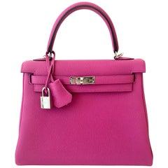 Hermes Kelly 25cm Magnolia Pink Togo Bag Palladium Hardware