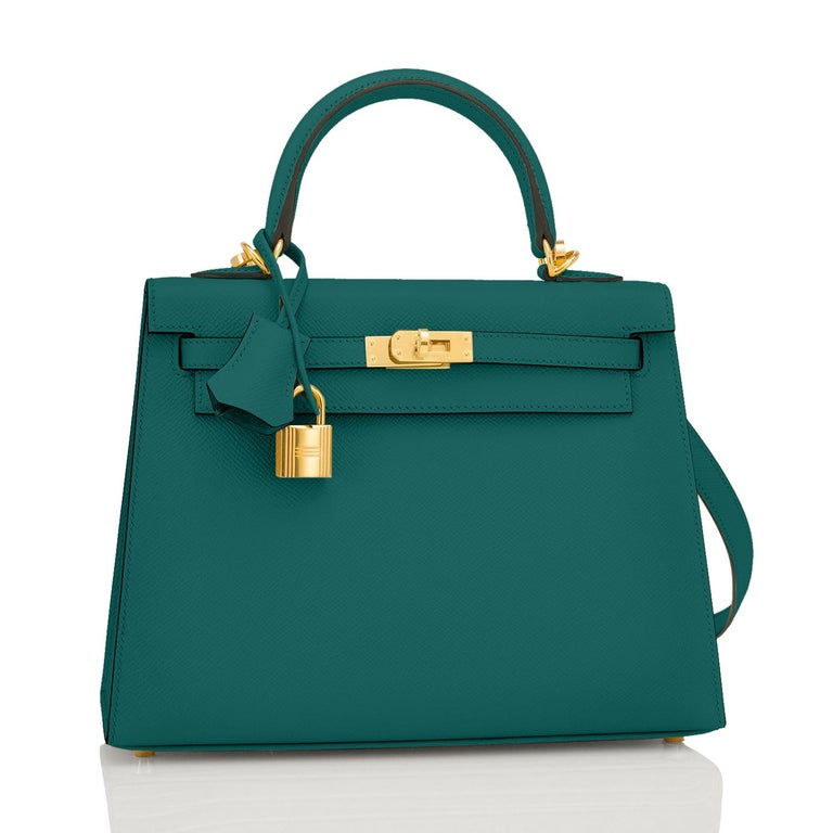 Hermes Kelly 25cm Malachite Jewel Green Epsom Sellier Bag Gold Y Stamp, 2020 Just purchased from Hermes store; bag bears new interior 2020 Stamp. Brand New in Box. Store Fresh. Pristine Condition (with plastic on hardware). Perfect gift! Comes full