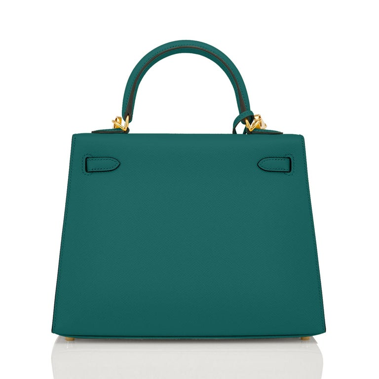 Blue Hermes Kelly 25cm Malachite Jewel Green Epsom Sellier Bag Gold Y Stamp, 2020 For Sale