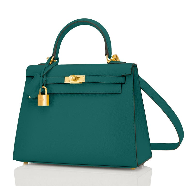 Hermes Kelly 25cm Malachite Jewel Green Epsom Sellier Bag Gold Y Stamp, 2020 In New Condition For Sale In New York, NY