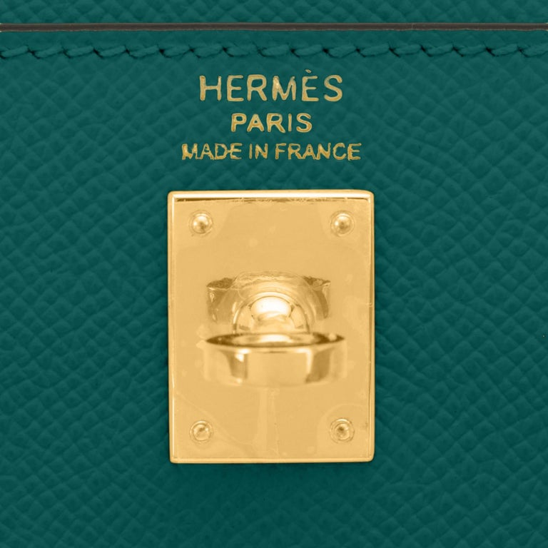 Hermes Kelly 25cm Malachite Jewel Green Epsom Sellier Bag Gold Y Stamp, 2020 For Sale 4