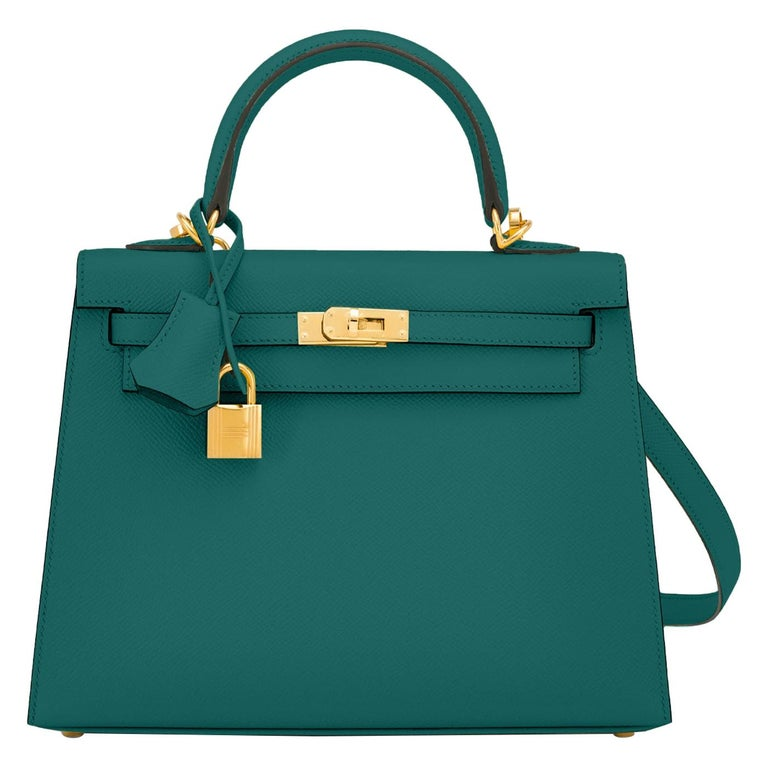 Hermes Kelly 25cm Malachite Jewel Green Epsom Sellier Bag Gold Y Stamp, 2020 For Sale