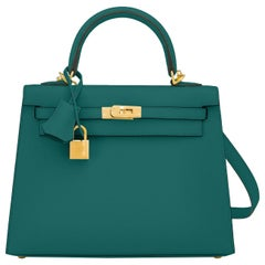 Hermes Kelly 25cm Malachite Jewel Green Epsom Sellier Bag Gold Y Stamp, 2020