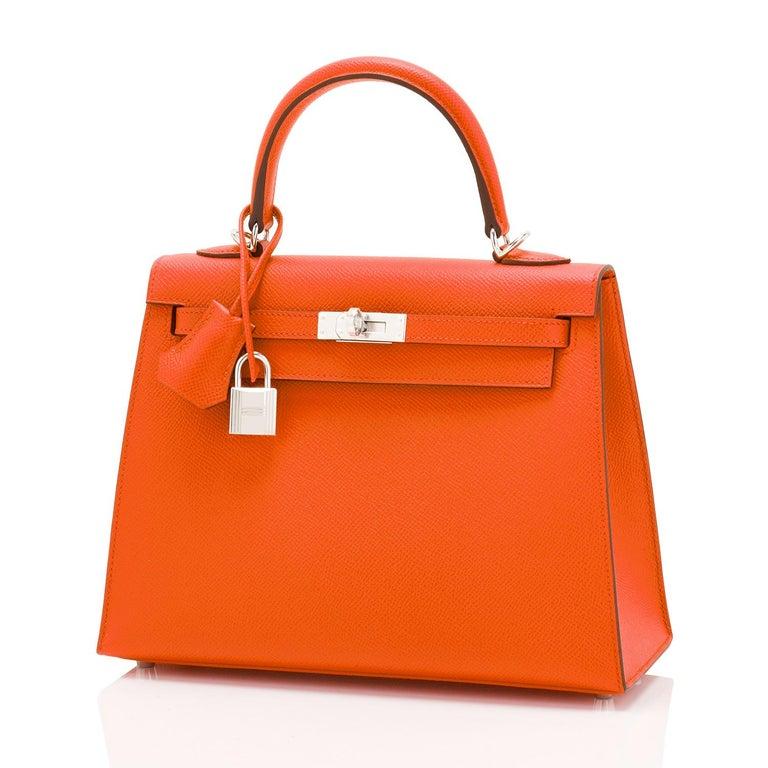 Hermes Kelly 25cm Orange Feu Epsom Sellier Bag Palladium NEW In New Condition In New York, NY
