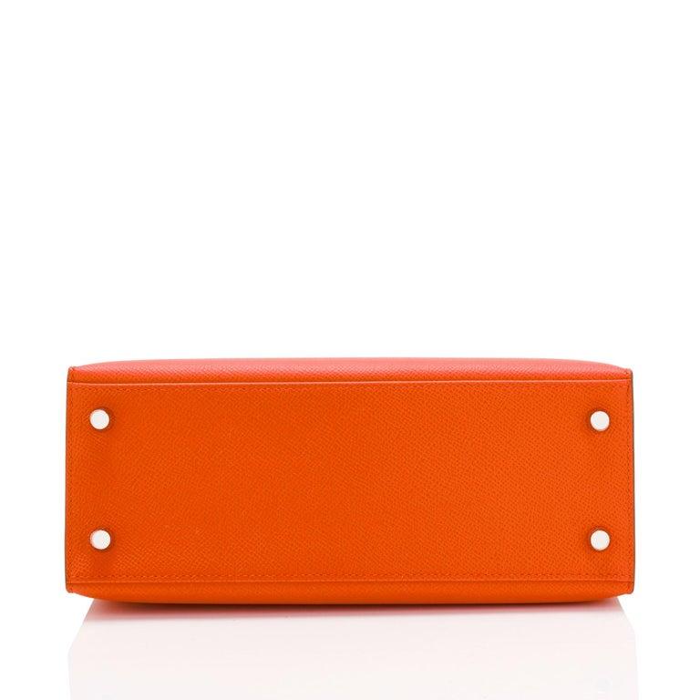 Hermes Kelly 25cm Orange Feu Epsom Sellier Bag Palladium NEW 1