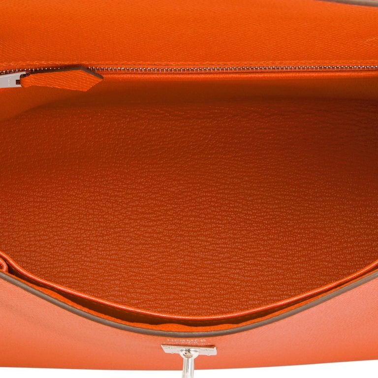 Hermes Kelly 25cm Orange Feu Epsom Sellier Bag Palladium NEW 2