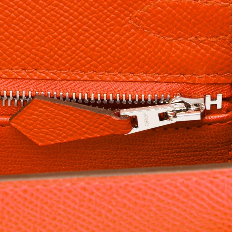 Hermes Kelly 25cm Orange Feu Epsom Sellier Bag Palladium NEW 3