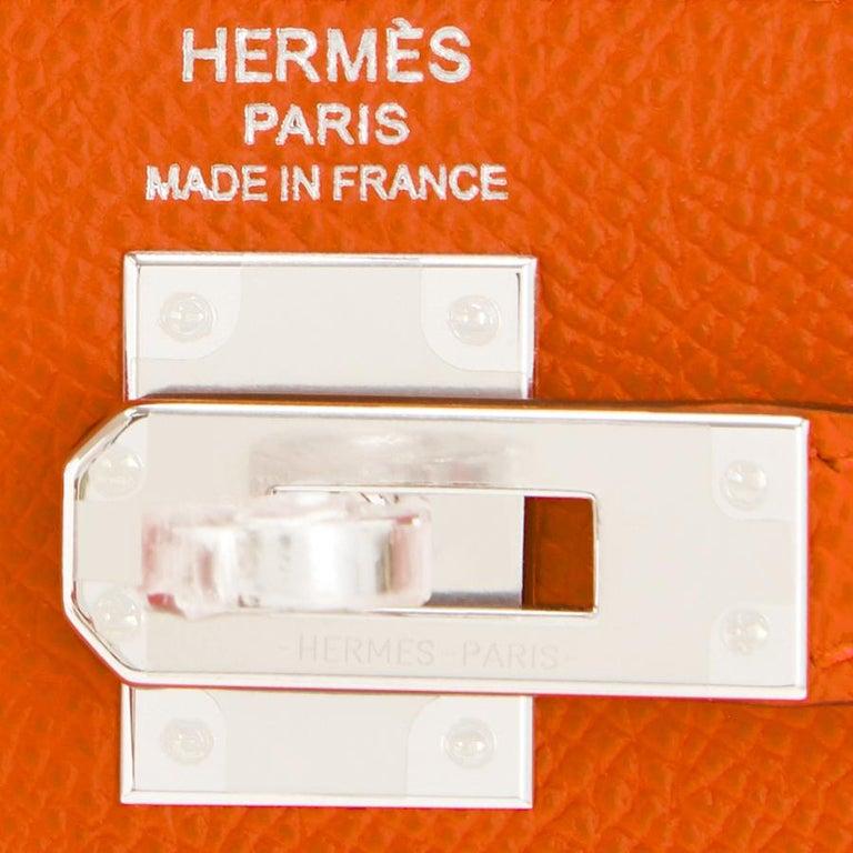 Hermes Kelly 25cm Orange Feu Epsom Sellier Bag Palladium NEW 4
