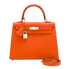 Hermes Kelly 25cm Orange Feu Epsom Sellier Bag Palladium NEW