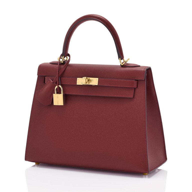 Hermes Kelly 25cm Rouge H Bordeaux Epsom Sellier Gold Hardware Y Stamp, 2020 In New Condition For Sale In New York, NY