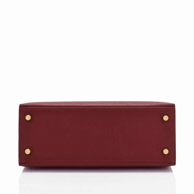 Hermes Kelly 25cm Rouge H Bordeaux Epsom Sellier Gold Hardware Y Stamp, 2020 For Sale 1