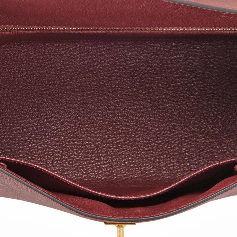 Hermes Kelly 25cm Rouge H Bordeaux Epsom Sellier Gold Hardware Y Stamp, 2020 For Sale 2