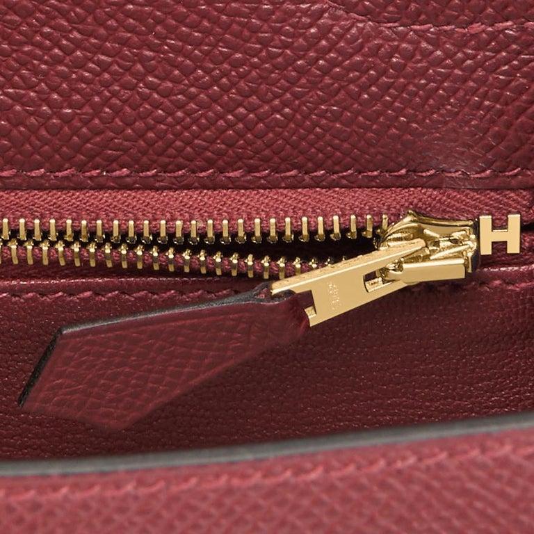 Hermes Kelly 25cm Rouge H Bordeaux Epsom Sellier Gold Hardware Y Stamp, 2020 For Sale 3