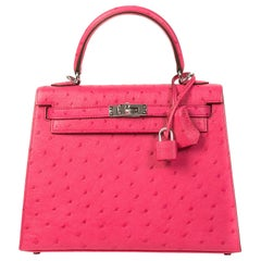 Hermès Kelly 25cm Sellier Rose Tyrien Ostrich PHW